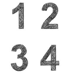 Line art font set - numbers 1 2 3 4 vector image
