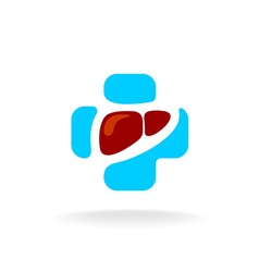 Liver logo liver color silhouette in a medical vector