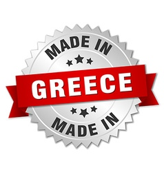 Made in greece silver badge with red ribbon vector