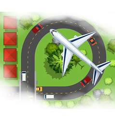 Aerial scece with airplane flying in the sky vector