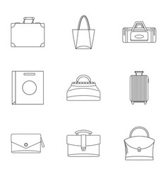 bag types icon set outline style vector image vector image
