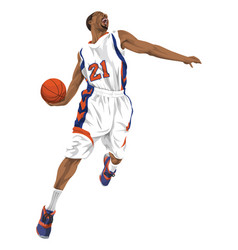 Basketball player going for a slam dunk vector