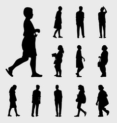 Black walk silhouettes set vector