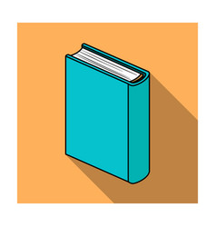 Blue standing book icon in flat style isolated on vector