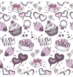Cake with pink gifts seamless pattern vector
