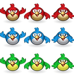 cartoon birds set vector image vector image