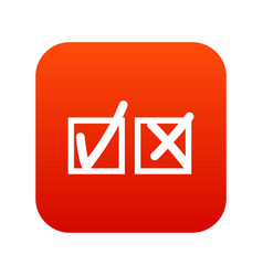 Checkmark to accept and refusal icon digital red vector