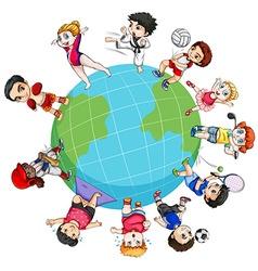 Children doing sports around the world vector image