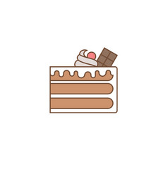 chocolate layer cake with topping vector image vector image