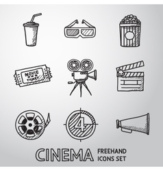 Cinema movie freehand icons set vector