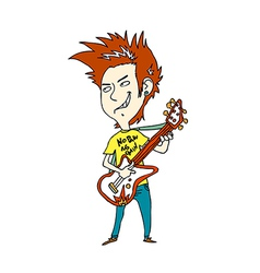 Close-up of boy holding guitar vector image vector image