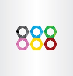 Colorful hexagon icon frame set vector