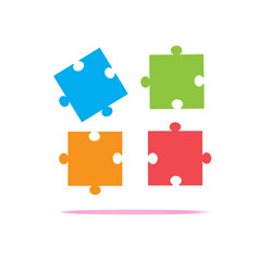 colorfull puzzles piece icon on white background vector image