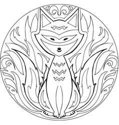 coloring firefox mandala vector image