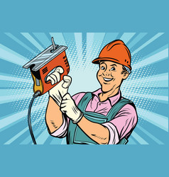 Construction worker with jigsaw vector
