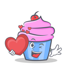 Cupcake character cartoon style with heart vector