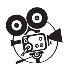 Drawing old fashioned movie camera vector