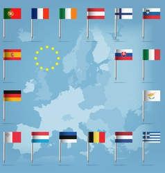 EU countries flag pins over european map vector image