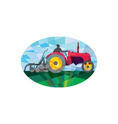 Farmer Driving Vintage Farm Tractor Oval Low vector image