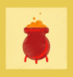 Flat shading style icon cauldron witches potion vector