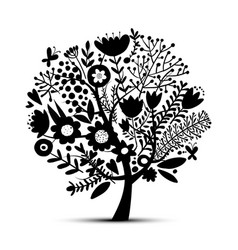 floral tree sketch for your design vector image vector image
