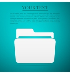Folder flat icon on blue background Adobe vector image vector image