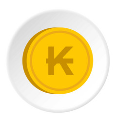Gold coin with lao kip sign icon circle vector