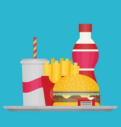 Group of fast food products flat vector