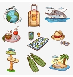 Hand drawn travel icons traveling on airplane vector image vector image