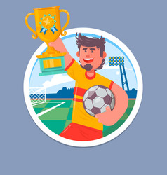 happy soccer champions with winners cup soccer vector image vector image