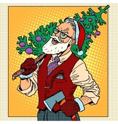 Hipster santa claus with christmas tree vector