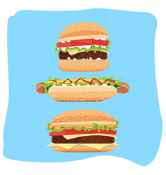 Hotdog and hamburger vector