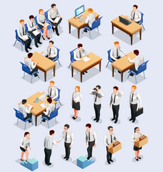 Isometric employment interview collection vector