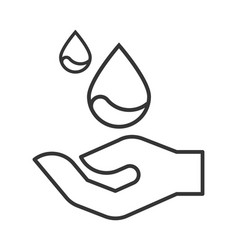 Modern line icon with hand and drop of water vector
