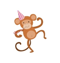 Monkey Cute Animal Character Attending Birthday vector image