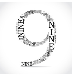 Number nine created from text vector