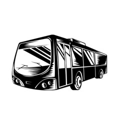 Passenger coach bus woodcut vector