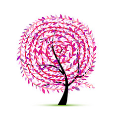 pink tree with leaf spiral ornament vector image vector image