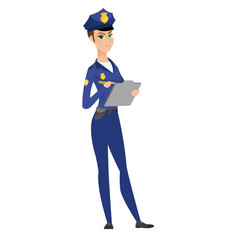 Police woman in uniform writing on clipboard vector