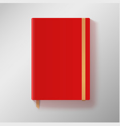 Red copybook with elastic band and gold bookmark vector