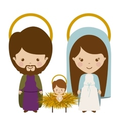 Sacred family with baby jesus cartoon vector