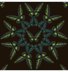 Seamless pattern with circle green-black butterfly vector image