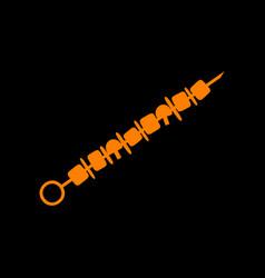 Shish kebab on skewers sign orange icon on black vector