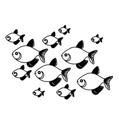 Silhouette set collection fish aquatic animal vector