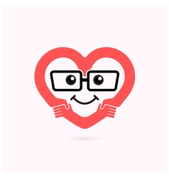Smile heart shape and handshake logo vector