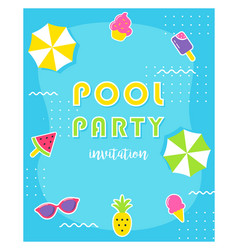 Summer pool party poster or invitation card vector