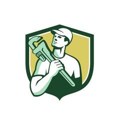 Tradesman plumber wrench shield retro vector