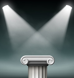 White ancient columns illuminated with floodlights vector