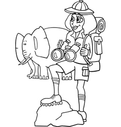 woman on african safari for coloring book vector image vector image