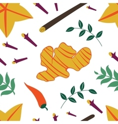 Seamless pattern with fresh vegetables and spices vector